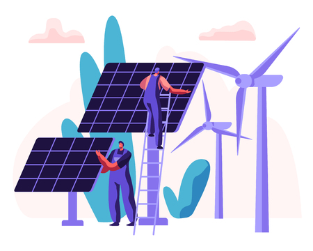 Alternative Clean Energy Concept with Solar Panels, Wind Turbines and Engineer Character. Renewable Power Sources with Windmills. Vector flat illustration Illustration