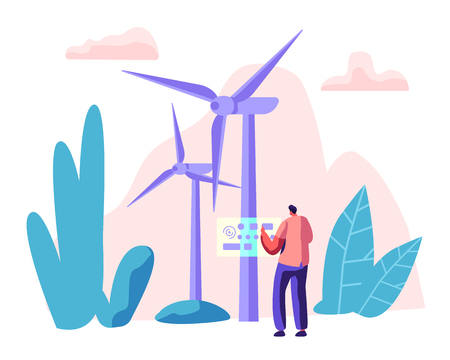 Alternative Energy Sources Concept with Wint Turbines and Worker Character. Environment Power Technology Renewable Energy. Vector flat illustration