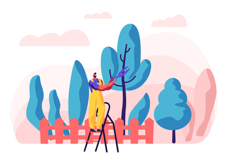 Gardener Character at Work. Man in Uniform Working in the Garden Growing Tree and Plants with Tools. Organic Gardening Concept. Vector flat illustration