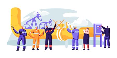 Oliepijpleidingservice. Karaktercontrole en kathodische beschermingsniveau controleren. Bewakingsconstructie, erosie of lekken. Transportvloeistof of gas. Platte cartoon vectorillustratie