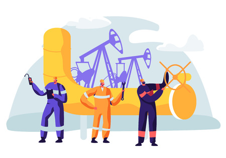 Oil and Gas Industry Concept with Man Character Working on the Pipeline. Oilman Worker on Production Line Petrol Refinery. Vector flat illustration Vektorgrafik