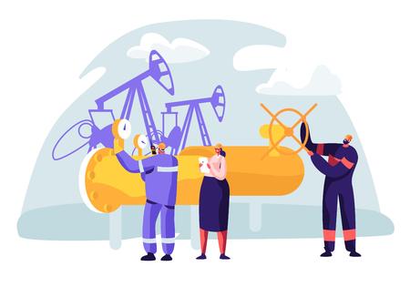 Öl- und Gasindustriekonzept mit Manncharakter, der an der Pipeline arbeitet. Oilman Worker auf der Produktionslinie Benzinraffinerie mit Frau Qualitätskontrolle überprüfen. Flache Vektorgrafik