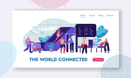 Airport Terminal with Passengers Waiting for Flight Landing Page Template. Traveling Man and Woman with Baggage on Security Check Scanner for Website, Web Page Banner. Vector flat illustration