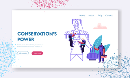 Electrician Workers Repairing Power Line Landing Page. Electrical Facilities Concept with Repairman Engineer in Uniform at Wiring Maintenance Work Website, Web Page. Vector flat illustration