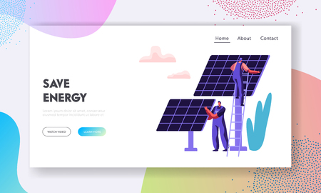 Alternative Clean Energy Concept with Solar Panels and Engineer Character Landing Page Template. Renewable Solar Power Sources Website, Web Page Banner. Vector flat illustration