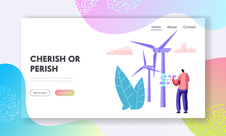 Alternative Energy Sources Concept with Wint Turbines and Worker Character Landing Page. Environment Power Technology Renewable Energy Website, Web Page Banner. Vector flat illustration