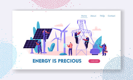 Alternative Clean Energy Concept with Solar Panels, Wind Turbines and Engineer Character Landing Page. Renewable Power Sources with Windmills Website, Web Page Banner. Vector flat illustration