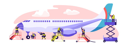 Flugzeug-Service-Banner. Flugzeugwartung, Inspektion und Reparatur. Erfüllung der Aufgabe, die zur Gewährleistung der Aufrechterhaltung der Lufttüchtigkeit des Flugzeugs erforderlich ist Flache Cartoon-Vektor-Illustration