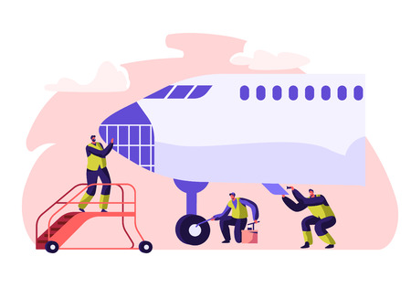 Airport Worker Service and Cleaning Plane. People Washing Airplane. Man on Aircraft Ladder Checking. Character Mop Chassis with Equipment. Employee in Uniform Flat Cartoon Vector Illustration