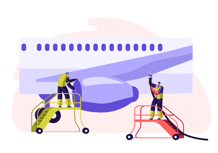 Airport Employee Servicing Plane. Man in Team Uniform in Ladder Checking Fly Wing of Aircraft. People Cleaning and Wipe in Stair with Equipment. Horizontal Flat Cartoon Vector Illustration Zdjęcie Seryjne - 123179875
