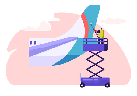 Man Washer Cleaning Tail Part from Plane. Character Washing Aircraft with Roller and Detergent. Airplane Clean Service. Airport Employee in Ladder Horizontal Flat Cartoon Vector Illustration