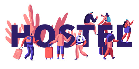 Hostel for Tourist Banner. Arrival of Character for Visit City. Lower Price, Cheap Place for Living or Night. Alternative Home for some Day. Room for Relaxation. Flat Cartoon Vector Illustration Foto de archivo - 119792362