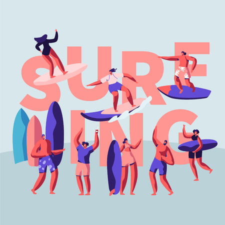 Surfing Surface Water Sport Banner. Surfer Represent a Diverse Culture Based of Riding Wave. Recreation Activity for Character Control Board in Difficult Condition. Flat Cartoon Vector Illustration Illusztráció
