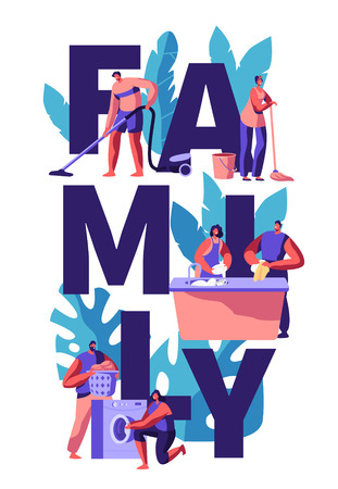 Family Cleaning House Together. Man Vacuuming and Wipe. Woman Wash Dish and Floor. Couple Picking Laundry from Washing Machine. Husband with Vacuum. Vertical Flat Cartoon Vector Illustration