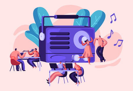 Radio Personality On-air Banner. Introduce and Play Individual Selection of Record Music. Host Talk Show, Interviews Celebrity or Guest. Listener, Character Dance. Flat Cartoon Vector Illustration Illustration