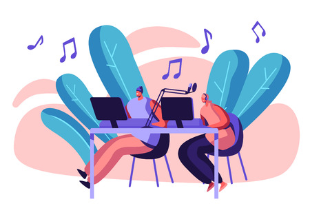 Woman Radio Presenter in Headphones Working in Record Studio. Female Character Talking in Microphone. Dj Girl Play Music. Broadcast Media Show. News Production Flat Cartoon Vector Illustration
