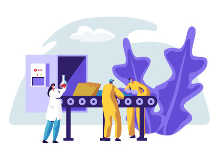 Trash Factory Production Line Recycle Sorting Garbage. Industrial Recycling Service Process. People Worker at Paper Disposal Conveyor. Prevent Environment Pollution Flat Cartoon Vector Illustration  イラスト・ベクター素材