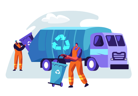 Man Cleaning Trash Container to Rubbish Truck with Recycle Sign. Lorry for Urban Waste Removal Service. Character Collect Dustbin to Industrial Transport Vehicle Flat Cartoon Vector Illustration Ilustração