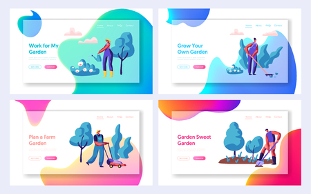 Gardener Planting Tree and Bush Set Landing Page. People Gardening Plant in Garden. Woman with Watering. Man Digging. Lawnmower Mowing Grass Website or Web Page. Flat Cartoon Vector Illustration