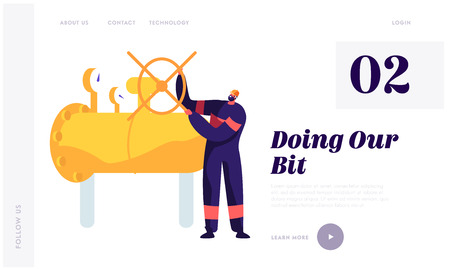 Gasman with Valve Inspecting Pipeline Landing Page. Gas Engineer in Overall and Hardhat Work at Plant to Service. Regulator Engineering Factory Website or Web Page. Flat Cartoon Vector Illustration