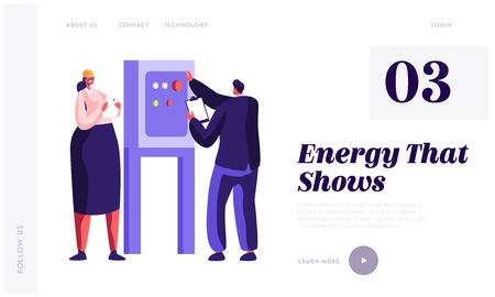 People Engineer Check Energy Equipment at Factory Landing Page. Man and Woman Inspector Engineering. Gas Industry Inspection. Technician Worker Website or Web Page. Flat Cartoon Vector Illustration Illustration