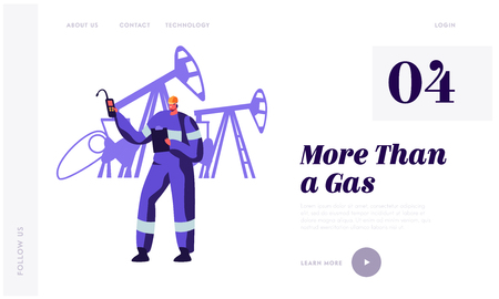 Gasman near Gas Facility Station at Plant Landing Page. Worker Man in Uniform with Equipment Work in Gas Industry. Technician Maintenance Service Website or Web Page. Flat Cartoon Vector Illustration Çizim