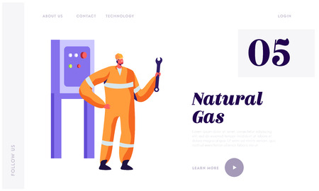 Man Engineer with Wrench Service Gas Industry Landing Page. Gasman in Uniform and Hardhat Engineering at Plant. Factory Mechanic Adjusting Website or Web Page. Flat Cartoon Vector Illustration