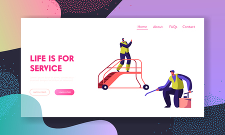 Cleaning Service Team in Airport Landing Page. Man Washer Clean Slippery Floor. Cleaner in Lift Ladder Work in Uniform. People Mopping Website or Web Page. Flat Cartoon Vector Illustration Ilustracja