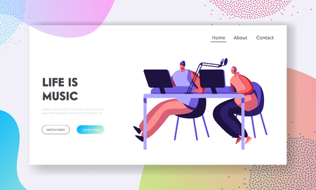 Woman Radio Presenter in Headphone Working in Studio Landing Page. Female Character Talking in Microphone. Dj Girl Play Music. Broadcast Show Website or Web Page. Flat Cartoon Vector Illustration Illustration