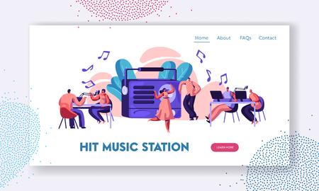 Radio Station Show Playing Music Landing Page. Présentateur avec microphone et casque dans Record Studio. Femme en robe dansant sur le site Web ou la page Web de la chanson. Illustration vectorielle de dessin animé plat
