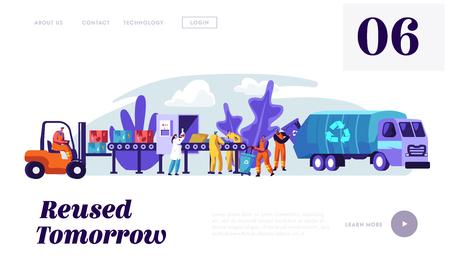 People Cleaning Trash to Reduce Littering Landing Page. Man Collect Garbage from Rubbish Bin to Lorry with Recycling Sign. Woman Utilize Litter Website or Web Page. Flat Cartoon Vector Illustration Banco de Imagens - 123179907