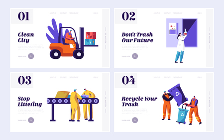 Male Clean Trash to Reduce Littering Set Landing Page. Man Picking Dustbin with Recycling Sign. People Collect Rubbish from Conveyor. Recycle Website or Web Page. Flat Cartoon Vector Illustration Banco de Imagens - 123179908