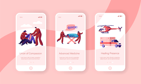 Professional Ambulance Team Care Health Mobile App Page Onboard Screen Set. Fast Transport Character from Accident and Transportation to Clinic Website or Web Page. Flat Cartoon Vector Illustration