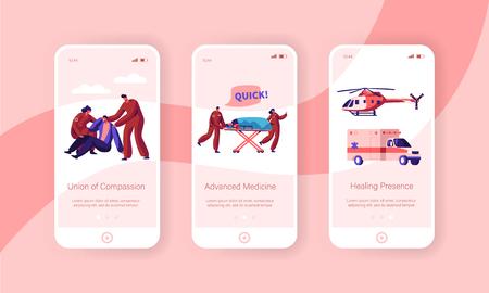 Professioneller Krankenwagen Team Care Health Mobile App Seite Onboard Screen Set. Schneller Transportcharakter von Unfall und Transport zur Klinik-Website oder -Webseite. Flache Cartoon-Vektor-Illustration