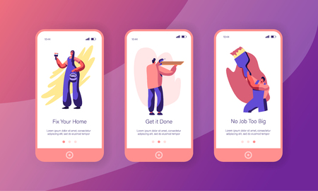 People Making Repair or Renovation Home Mobile App Page Onboard Screen Set. Woman Painting Wall. Man Drill Shelf. Worker Paint with Brush Website or Web Page. Flat Cartoon Vector Illustration Çizim