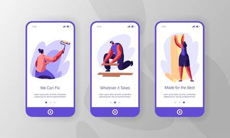 People Making New Renovation Mobile App Page Onboard Screen Set. Woman Paint Wall with Roller and Gluing Wallpaper. Man Lying Parquet Floor Board Website or Web Page. Flat Cartoon Vector Illustration Çizim