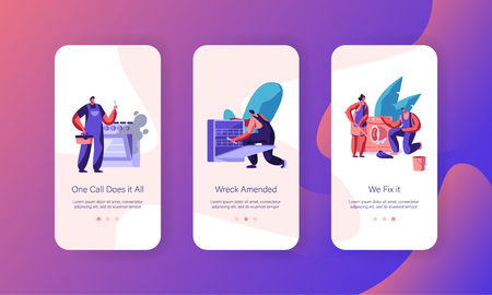 Repairman Fixing Problem Mobile App Page Onboard Screen Set. Worker Repair Washing Machine, Kitchen Stove. Handyman Service Dish Washer by Wrench Website or Web Page. Flat Cartoon Vector Illustration