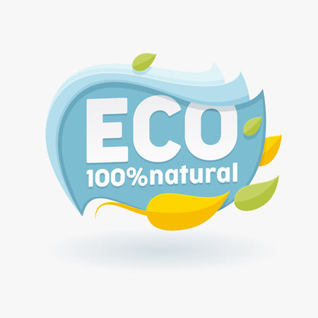 Healthy Organic Food Label with Colorful Leaves. Tag, Emblem, Meal and Drink Logo, Cafe, Restaurants and Products Packaging, Eco Natural Food Promotion, Healthy Nutrition Banner. Vector Illustration Illustration