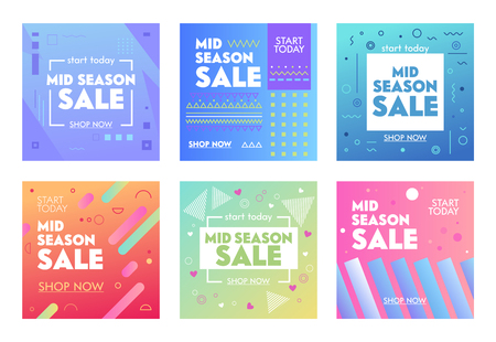 Set of Colorful Banners with Abstract Geometric Pattern for Mid Season Sale. Promo Post Design Templates for Social Media Digital Marketing. Flyers for Influencer Brand Promotion. Vector Illustration Ilustracja