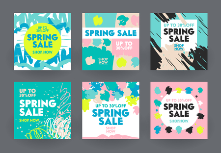 Set of Abstract Banners for Social Media Marketing. Spring Sale Offer for Shop or Discounter, Shopping Posters in Casual Modern Simple Style with Brush Strokes and Doodle Lines. Vector Illustration