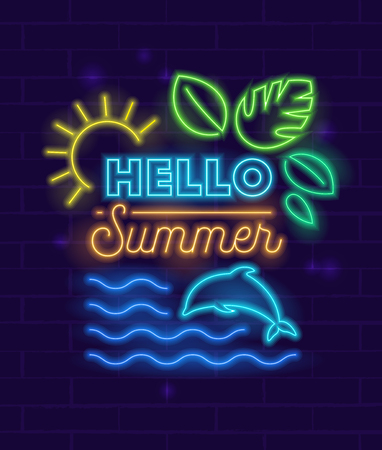 Hello Summer Banner with Neon Style Glowing Elements and Typography on Brick Wall Background. Shining Sun, Tropical Leaves and Dolphin in Sea Waves. Beach Party Flyer, Poster, Vector Illustration