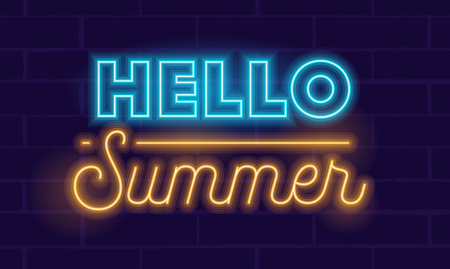Hello Summer Highly Detailed Realistic Neon Glowing Typography on Dark Blue Background. Banner, Flyer, Poster for Summertime Entertainment Promotion or Element for Leaflet Design. Vector Illustration