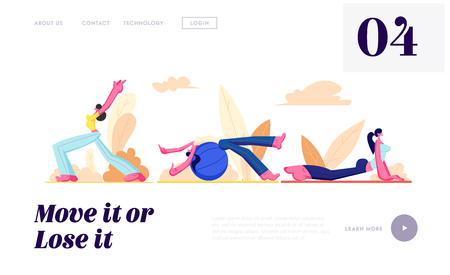 Set of Female Characters Training Openair. Girl Stand with Hands Up, Fitball Workout, Yoga Dog Asana, Healthy Sporty Lifestyle, Website Landing Page, Web Page. Cartoon Flat Vector Illustration, Banner  イラスト・ベクター素材
