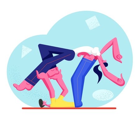Young Athlete Man and Woman Characters Wearing Sport Clothing Doing Fitness or Aerobics Exercise. Male and Female Couple Workout Together in Gym, Healthy Lifestyle. Cartoon Flat Vector Illustration