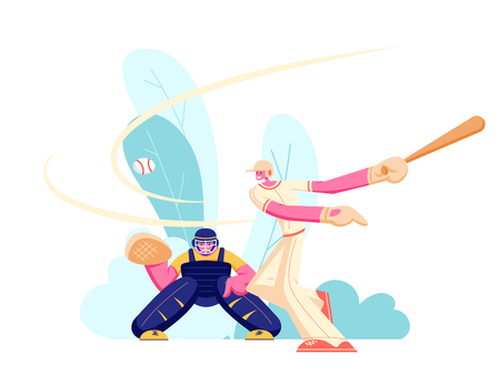 Young Men Athlete Characters in Uniform Playing Baseball at Championship Competition. Batter Hitter Hitting Ball and Catcher Prepare to Get it. Sport Players in Action Cartoon Flat Vector Illustration