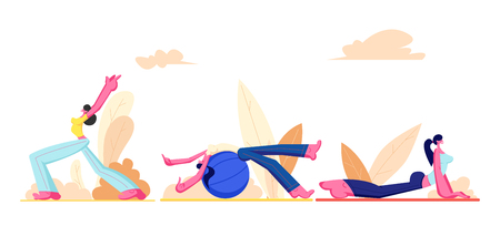 Workout Girl Set. Young Athletic Women Wearing Sport Clothing Doing Gymnastic, Fitness with Fitball and Yoga Exercises Outdoors. People Healthy Lifestyle Activity. Cartoon Flat Vector Illustration Ilustracja