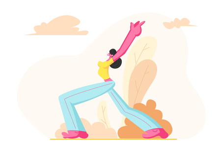 Young Sporty Woman with Slim Figure Wearing Sports Wear Training Outdoors, Female Character Doing Lunge with Hands Rising Up Side View, Sport and Active Healthy Life. Cartoon Flat Vector Illustration