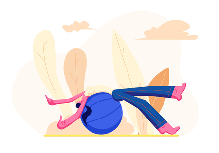 Young Girl in Sports Wear Relaxing on Fitball During Outdoor Training Workout. Fitness Woman Character Doing Exercises for Healthy Lifestyle, Fitness Sport Activity. Cartoon Flat Vector Illustration