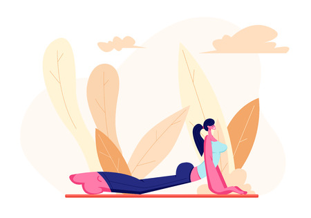 Female Character in Perfect Physical Shape Doing Fitness, Yoga or Aerobics Exercises on Nature, Aerobic Training for Good Feeling and Healthy Life, Woman Engage Sport. Cartoon Flat Vector Illustration