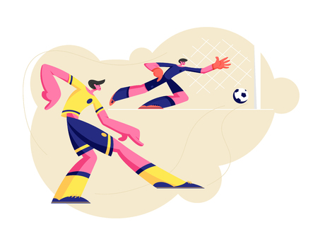 Couple of Young Men Characters in Sports Uniform Practicing Football Game, Soccer Player Kicking Ball, Goalkeeper Catching it in Bounce, Male Take Part in Competition. Cartoon Flat Vector Illustration